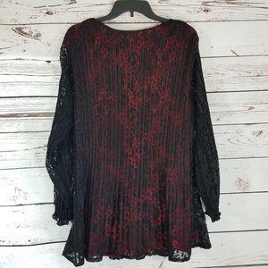 Catherines Tops - Catherine's Red w/ Black overlay Tunic 1X